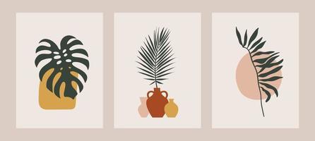 ensemble d'art de ligne continue de fleurs esthétiques. Collage contemporain abstrait de formes géométriques dans un style branché moderne du milieu du siècle vecteur