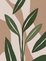 affiche d'art mural contemporain botanique. dessin au trait de feuillage tropical avec une forme abstraite.Conception d'art végétal abstrait boho pour impression, couverture, papier peint, art mural minimal et naturel du milieu du siècle. illustration vectorielle vecteur