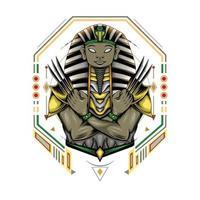 pharaon égyptien avec griffe en arrière-plan de la géométrie sacrée. logo sphinx vecteur