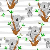 modèle sans couture avec koala de dessin animé sur la branche d'arbre d'eucalyptus. illustration avec koala drôle avec bébé koala. motif pour tissu et vêtements. vecteur