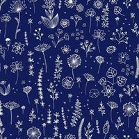 croquis de broderie florale. croquis de motifs botaniques dessinés à la main. griffonnage, fleurs de jardin, feuilles, branches. texture de vecteur moderne pour la mode, le tissu, l'impression rétro.