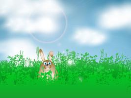 Lapin de Pâques en herbe vecteur