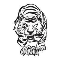 dessin à la main d & # 39; un tigre tapi, illustration vectorielle de chasse vecteur