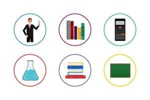 jeu d'icônes d'éducation colorée vecteur