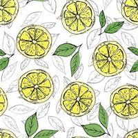modèle sans couture coloré de citrons dessinés à la main et de feuilles vertes sur fond blanc. parfait pour les affiches de papier peint de fabrication textile et le web vecteur