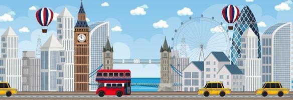 Scène horizontale de la ville de Londres au moment de la journée vecteur