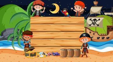 enfants pirate à la scène de nuit de plage avec un modèle de bannière en bois vide vecteur