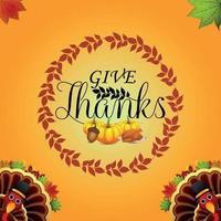 fond de jour de Thanksgiving avec oiseau de dinde de vecteur et feuille d'automne