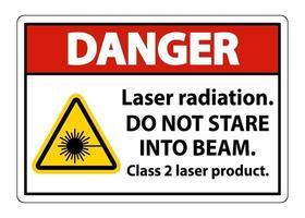 Rayonnement laser de danger ne pas regarder dans le faisceau laser de classe 2 signe produit sur fond blanc vecteur