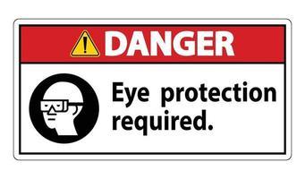 Panneau de danger protection des yeux symbole requis isoler sur fond blanc vecteur