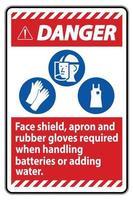 panneau de danger tablier de protection faciale et gants en caoutchouc requis lors de la manipulation des batteries ou de l'ajout d'eau avec les symboles ppe vecteur