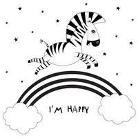 animaux de dessin animé. petit zèbre mignon bébé volant et souriant. arc-en-ciel, nuages et étoiles. conception de modèle pour tissu, enveloppe, pour enfants, décor de vacances. vecteur