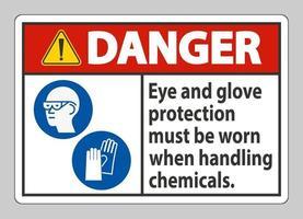 les signes de danger doivent porter des lunettes de protection et des gants lors de la manipulation de produits chimiques vecteur