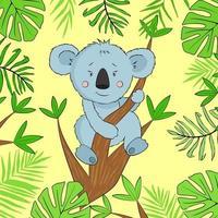 koala de dessin animé illustration vectorielle sur la branche d'arbre d'eucalyptus. illustration avec koala drôle et feuilles exotiques. vecteur