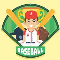 Conception de vecteur d'insigne de baseball