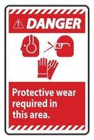 panneau de danger porter un équipement de protection dans cette zone avec des symboles ppe vecteur