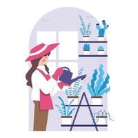 jardinage à la maison au design plat vecteur