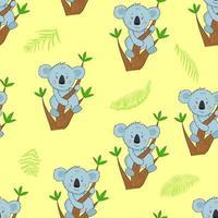modèle sans couture avec koala de dessin animé sur la branche d'arbre d'eucalyptus. illustration avec koala drôle et feuilles exotiques. motif pour tissu et vêtements. vecteur