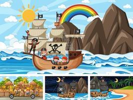 ensemble de différentes scènes avec bateau pirate à la mer et animaux dans le zoo vecteur
