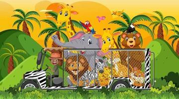 safari au coucher du soleil avec de nombreux enfants regardant des animaux vecteur