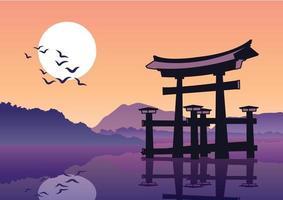 le célèbre monument torii du japon vecteur