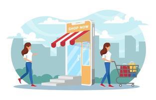 concept de shopping femme sans contact vecteur