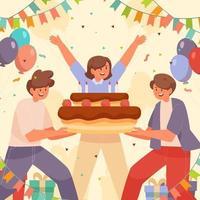 anniversaire avec des amis vecteur