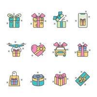 collection d'icônes de cadeau coloré vecteur