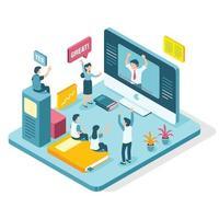 concept de réunion virtuelle en ligne isométrique vecteur