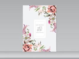 carte d'invitation de mariage élégant floral vecteur