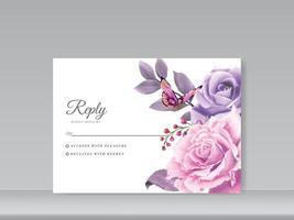 carte d'invitation de mariage définie belle aquarelle florale vecteur