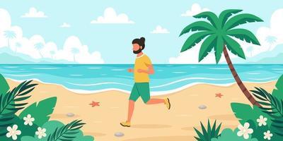 temps libre sur la plage. homme jogging. heure d'été. illustration vectorielle vecteur