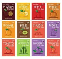 modèle de conception d'étiquettes de confiture de fruits vecteur