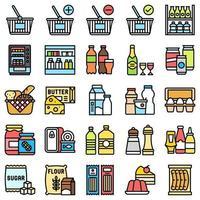 supermarché et centre commercial liés icon set 2, style fiiled vecteur