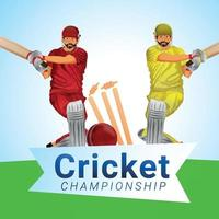 tournoi de championnat de cricket avec illustration vectorielle de cricket et équipement de cricket vecteur