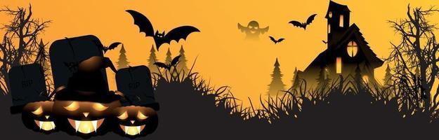 bannière de fête d & # 39; halloween heureux avec citrouille rougeoyante de maison hounted et chauves-souris volantes vecteur