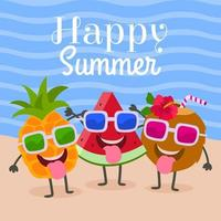bannière d'été avec dessin animé doodle fruits mignons drôles vecteur