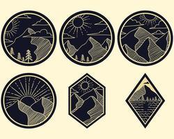 illustration vectorielle de montagne ligne art autocollants vecteur