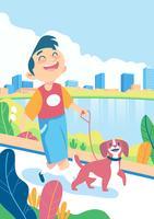 Garçon et son chien marchant