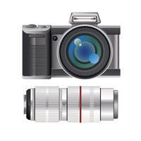 Appareil photo reflex numérique sans miroir moderne avec accessoires vecteur
