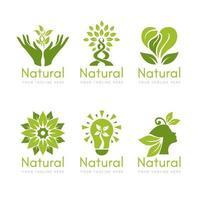 collection de logo naturel au design plat vecteur