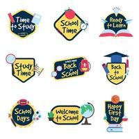 collection de badges d & # 39; activité scolaire design plat vecteur