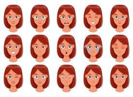 illustration de conception de vecteur d'expression de visage de femme isolée sur fond blanc