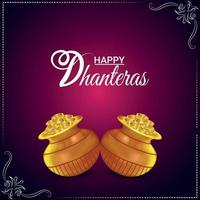 Carte de voeux de célébration de dhanteras heureux avec pot de pièce d'or vecteur