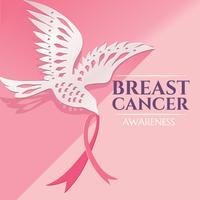 Conception de sensibilisation au cancer du sein avec du papier Dove Bird portant du ruban rose