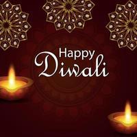 illustration vectorielle créative du joyeux festival de diwali en inde avec diwali diya vecteur