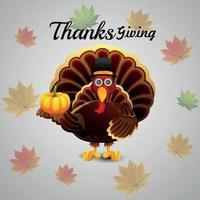 fête de Thanksgiving festival corée avec oiseau de dinde de vecteur