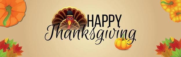 bannière d'invitation de Thanksgiving avec oiseau de dinde créative et citrouille vecteur