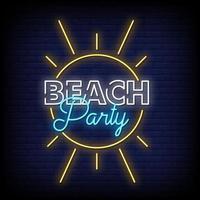 vecteur de texte de style enseignes au néon beach party