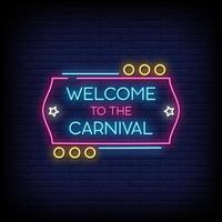Bienvenue dans le vecteur de texte de style enseignes au néon de carnaval